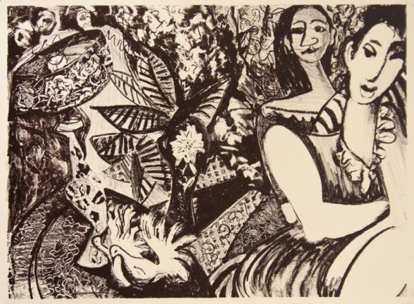 Single-color lithograph by Maria Baca.Two women sit in the right of a horizontal frame with a garden in the background.
