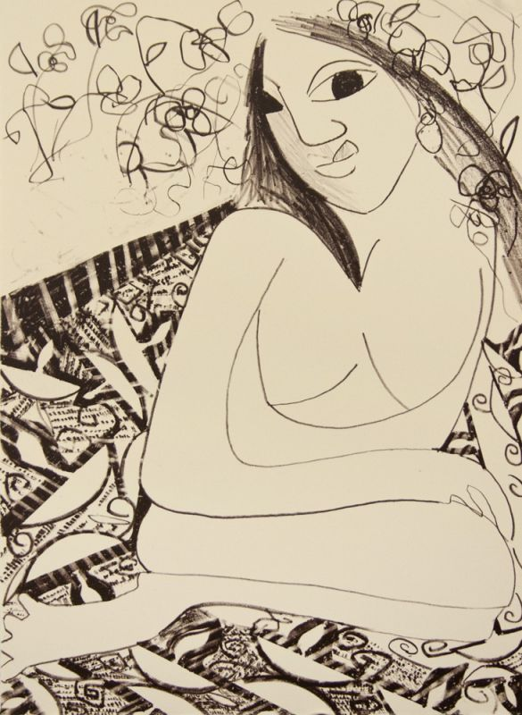 Single-color lithograph by Maria Baca.