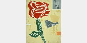 Lithograph by Donald Baechler withred rose and a bird placed on pale yellow background with deeper yellow drips and spatters.