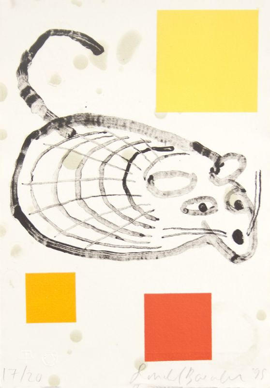 Lithograph by Donald Baechler with an abstracted mouse in gray lines surrounded by 3 squares in yellow, orange, and red against a cream background.