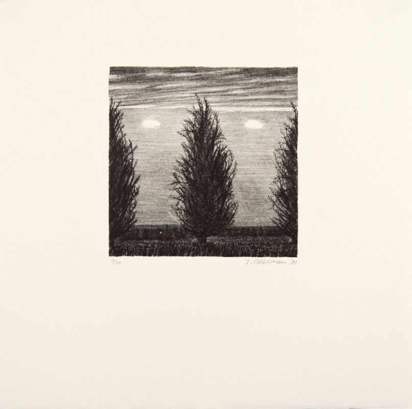 Lithograph by John Beerman with a landscape in gray tones. Three coniferous trees sit in the foreground with a painterly sky and clouds visible in the background. Two trees are partially cut off by the left and right edges of the frame.
