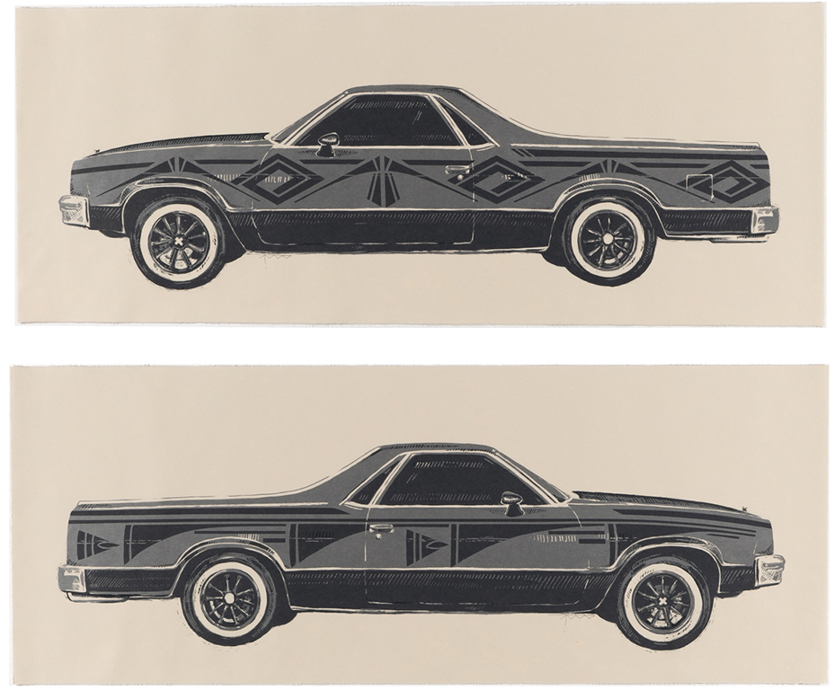 Two El Camino cars by Rose B. Simpson