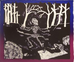 Three-color lithograph by Robert Fichter. A six-armed humanoid skeleton dances in the center midground with trees in the background.