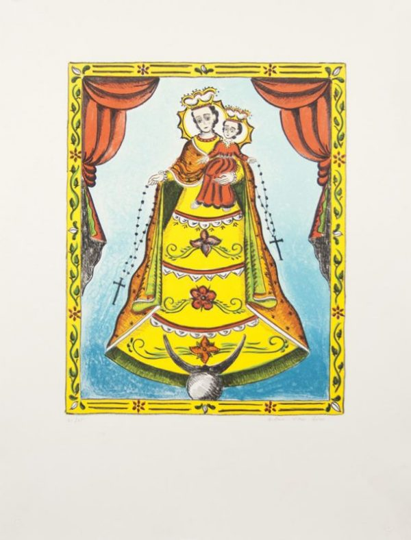 Eight-color lithography by G. Victor Goler with Our Lady of the Rosary in a blue background and framed by red stage curtains.