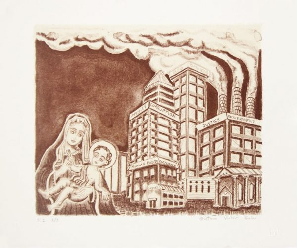 Single-color lithograph with hand-coloring and chine collé by G. Victor Goler. The Virgin Mary holds an infant Christ in the lower left of a horizontal composition. A factory spews smoke from three chimneys in the background.