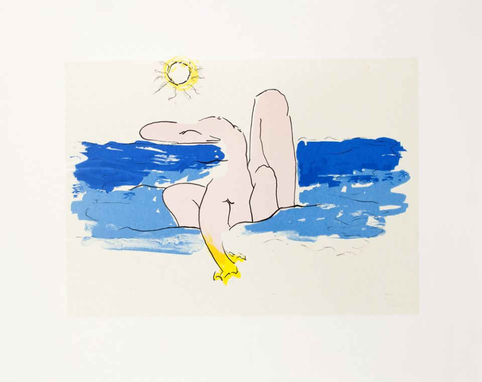 Five-color lithograph by David Hare.
