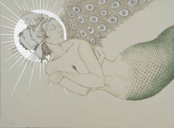Six-color lithograph with silver leaf by Fay Ku.